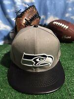 Seattle Seahawks gray Cap New Era 9Fifty Cap Leather Flat Brim Snapback Hat h20