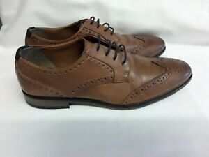 Mens/ Youths River Island Brown Leather Lace Up Brogue Shoes Size 6 Ex.con
