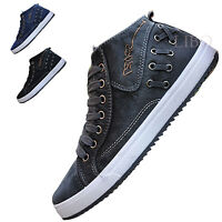 2018 Hot Mens Jeans Sneaker Denim Cowboy Flat Casual Lace Up Hi Top Sport Shoes