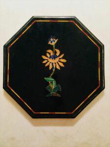 "12"" Marble table top semi precious stone marquetry work art home decor"