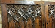 Pair 18th cathedral decor carving panel Antique french architectural salvage