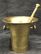 Antique Solid Brass Mortar and Pestle Apothecary Herb and Spice Grinder