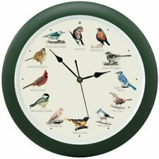 The Original Singing Bird Hanging Wall Sound Clock, 13 Inch, Green