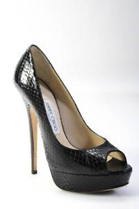 Jimmy Choo Womens Peep Toe Black Snakeskin Platforms Pumps Size EUR 37.5