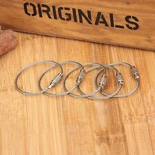 5X 110mm Twist Lock Wire Rope Key Ring Steel Cable Chain Outdoor Loop EDC Tool
