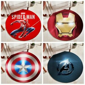 Marvel Carpet Iron Man Spiderman Round Floor Mat Home Chair Multi-function Rug