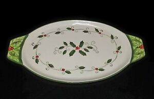 "TEMP-TATIONS Holiday Christmas HOLLY  BERRIES TRAY PLATTER oval 13 x 7"" Cardinal"