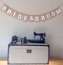 Bride & Groom Wedding Engagement Bunting Banner. Hessian Burlap