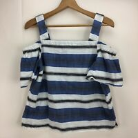 Lucky Brand Women's M Blue Short Sleeve Off The Shoulder Striped Blouse Top