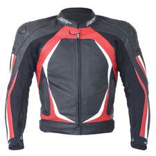 Blousons rouges longueur taille en cuir pour motocyclette