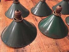 ANTIQUE OLD VTG GREEN TIN PENDANT LIGHT SHADE METAL GAS STATION INDUSTRIAL c1896