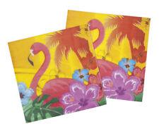 Serviettes papier hawaïennes deco carnaval flamingo flammant rose anniversaire