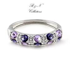 Platinum Plated Purple Silver Made With Swarovski Crystal Bangle/Bracelet B593