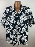 Vintage Floral Hawaiian Shirt Men's XL Black White Hibiscus Monstera USA Made