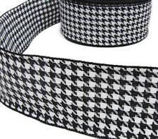"5 Yds Black White Houndstooth Herringbone Woven Wired Ribbon 2 1/2""W"