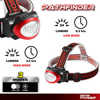 Dekton Pathfinder LED Head Light Torch Headlamp 55 Lumens 10M Range & Batteries