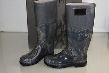 New NIB VALENTINO GARAVANI Grey NUDE Blush Lace Printed Rubber Rain Boots 35