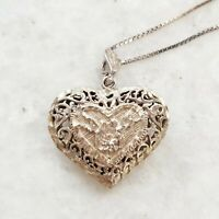 Vintage Scroll Work Filigree Lovebird Large Puffy Heart 925 Silver Necklace