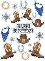 20 Eßbar Tortenaufleger Cowboy Western Muffinaufleger Party Deko Geburtstag Neu