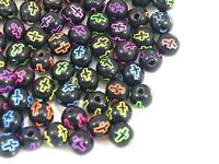 Craft DIY Black with Neon Cross Pattern Acrylic Round Beads 6mm-10mm Kids Craft