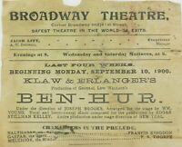 """.SUPER RARE SEPT 1900 BROADWAY THEATRE, NY """"BEN HUR"""" PROGRAMME. AMERICANA!"""