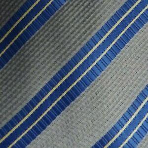 Self Tipped Gray Blue Striped Silk Tie