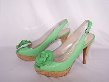 Nine West Open Toe Leather Cork Wedge Heels Lime Green Floral Women's 9.5