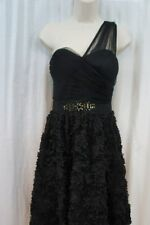 Adrianna Papell Dress Sz 10 Black One Shoulder Cocktail Evening Party Dress