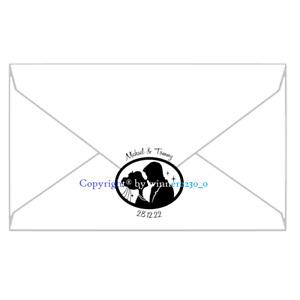 Personalised Premium Gloss Black Bride Groom OVAL Envelope Seal Wedding Sticker