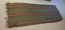 M & Co Verde Marrone Oro Viscosa con Frange Scialle o Sciarpa Lunga 72 da 28 in (ca. 71.12 cm)