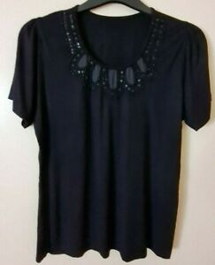 LADIES BLACK  STRETCH T SHIRT WITH BEAD AND SEQUIN NECKLINE DETAIL SIZE 12