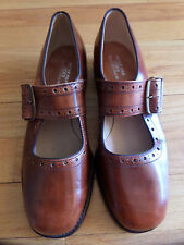 Cl/Vintage Dead Stock Rare Brown Leather Mary Jane Shoes/Peter Pan Debs/7B!