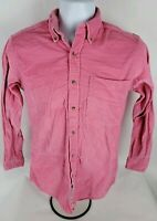 Savile Row Mens Button Front Shirt Sz S Sm Pink Long Sleeve Heavy Textured