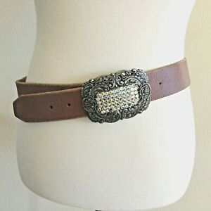 Fossil Womens S Belt Brown Leather Western Boho Silver Buckle Floral Rhinestone