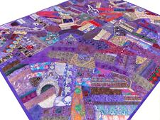 Quilt King Purple Patchwork Indian Handmade Bed cover Floral Paisley Boho K5