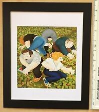 """BERYL COOK """"Strawberry Pickers"""" MOUNTED ART PRINT 11"""" x 9"""": NEW: fun, day out"""