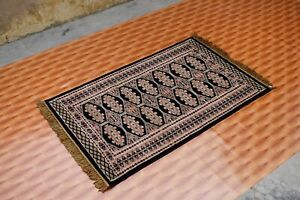 Floor Mat Oriental Carpet Rugs Bokara 3x5 ft Afghan Blue Black Color Living Room