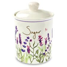 Jennifer Rose Lavender Ceramic Sugar Canister Caddy Container Storage Floral New