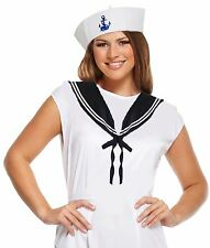 Ladies SAILOR SET Costume Outfit Doughboy Cute Hat and Collar Nautical Set Fancy