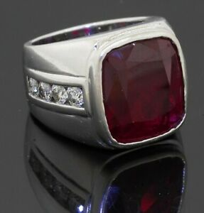 Heavy 14K WG 13.20CT VS diamond & synthetic ruby men's ring size 7.75