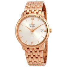 Omega De Ville Prestige Silver Dial Automatic Ladies 18 Carat Rose Gold Watch