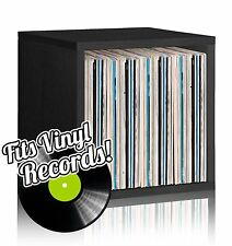 Vinyl Record Album LP Album Storage Cube Stackable Bookcase, Black