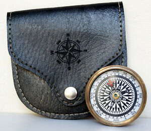 Antique Brass Maritime Pocket Compass Megnatic Camping With Black Leather Case