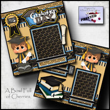 GRADUATION DAY ~ BOY 2 Premade Scrapbook Pages paper printed layout album CHERRY