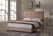 LT BROWN Upholstered KING Size Platform Bed Frame & Slats Modern Home Bedroom