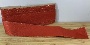 Wide Red Glitter Christmas Ribbon Gold Edging Hamper Cake SOLD PER METER crafts