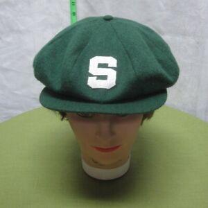 MICHIGAN STATE med golf hat Spartans vtg cabbie East Lansing felt newsboy cap