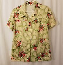 Vtg 60s 70s Mod Hippie Floral Polyester Button Down Front Pocket S/S Blouse M L