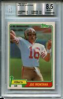 1981 Topps Football #216 Joe Montana 49ers Rookie Card Graded BGS NM Mint+ 8.5