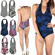 Womens Halter Neck Low Back Sleeveless Ladies Stretch Leotard Top Bodysuit 8-14